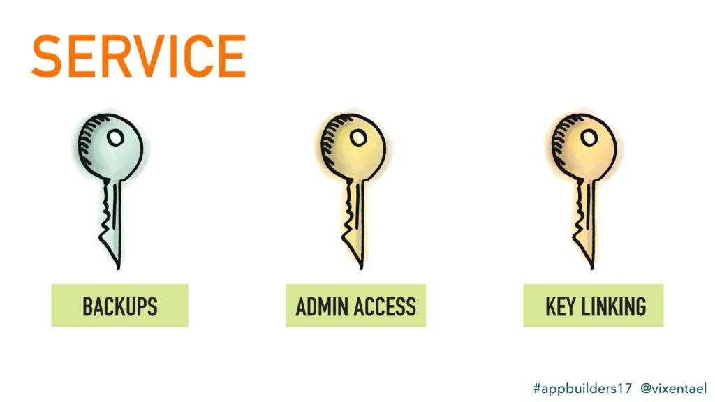 SERVICE #appbuilders17 @vixentael BACKUPS ADMIN...