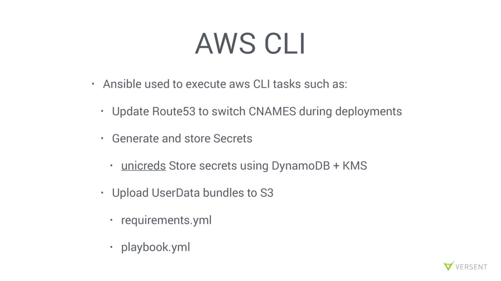 AWS CLI • Ansible used to execute aws CLI tasks...