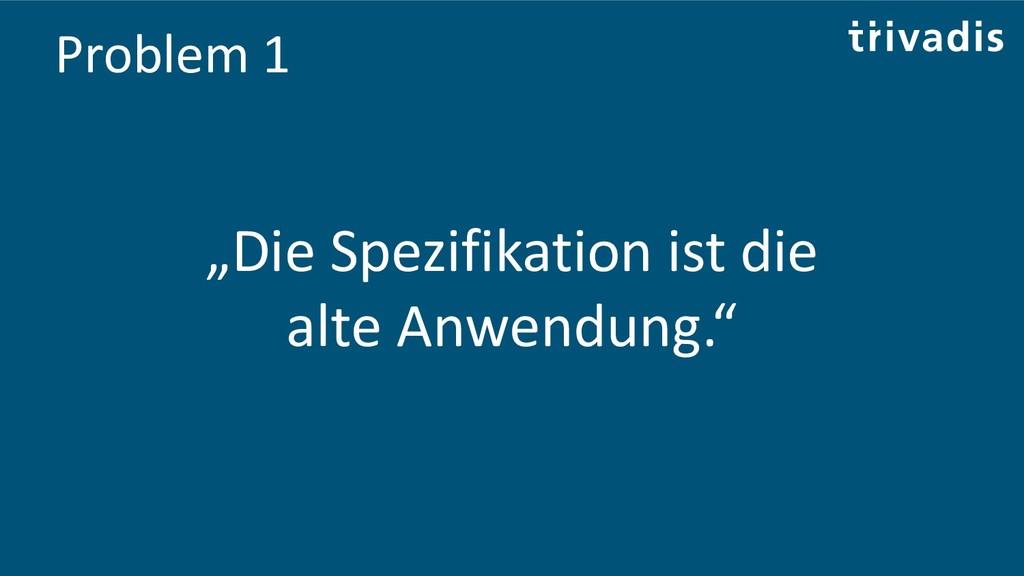 """Problem 1 """"Die Spezifikation ist die alte Anwen..."""