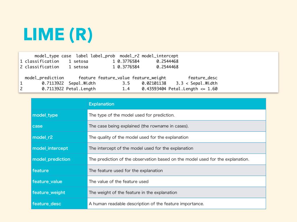 LIME (R) model_type case label label_prob model...