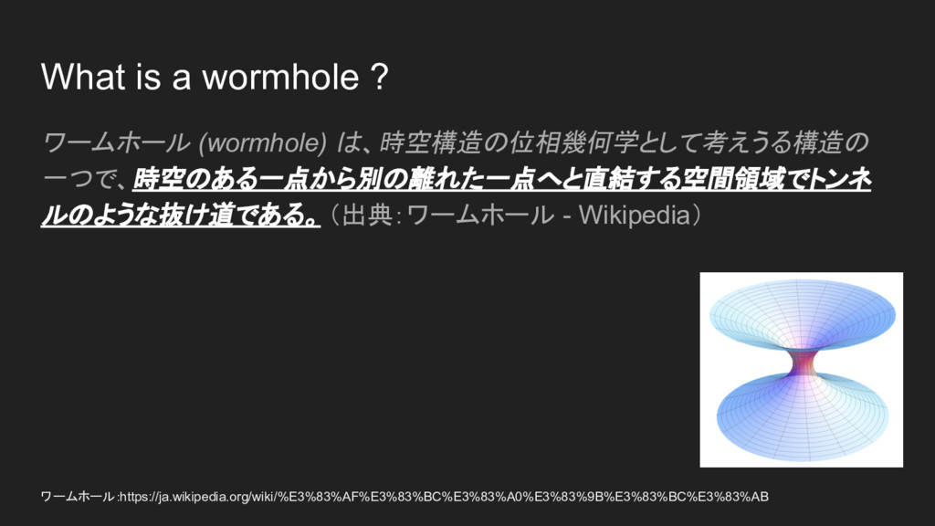 What is a wormhole ? ワームホール (wormhole) は、時空構造の位...