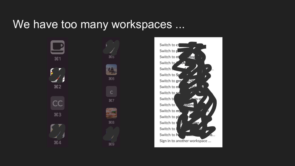 We have too many workspaces ...