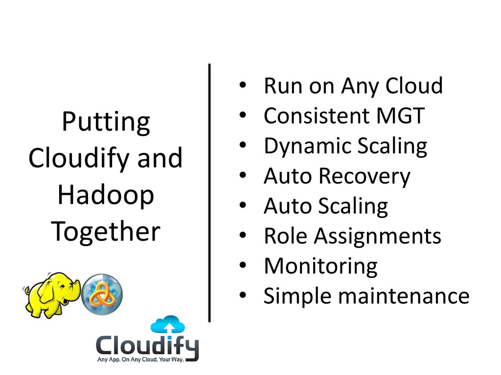 Putting Cloudify and Hadoop Together • Run on A...