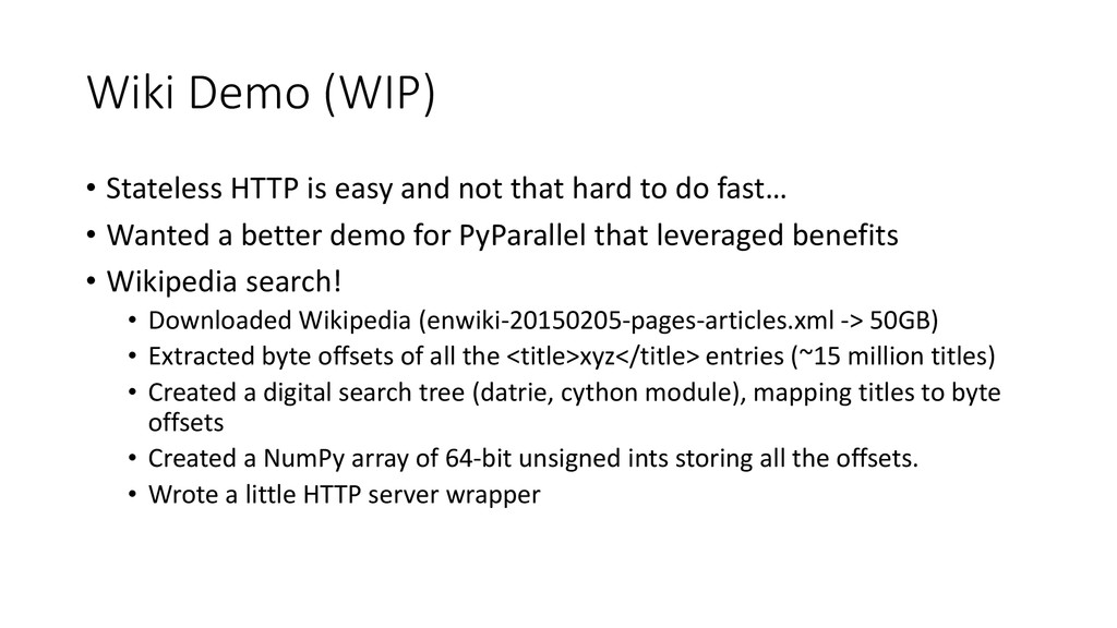 Wiki Demo (WIP) • Stateless HTTP is easy and no...