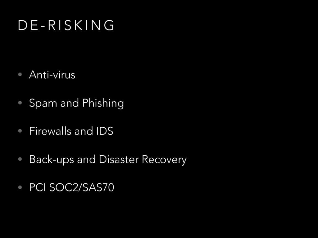 D E - R I S K I N G • Anti-virus • Spam and Phi...
