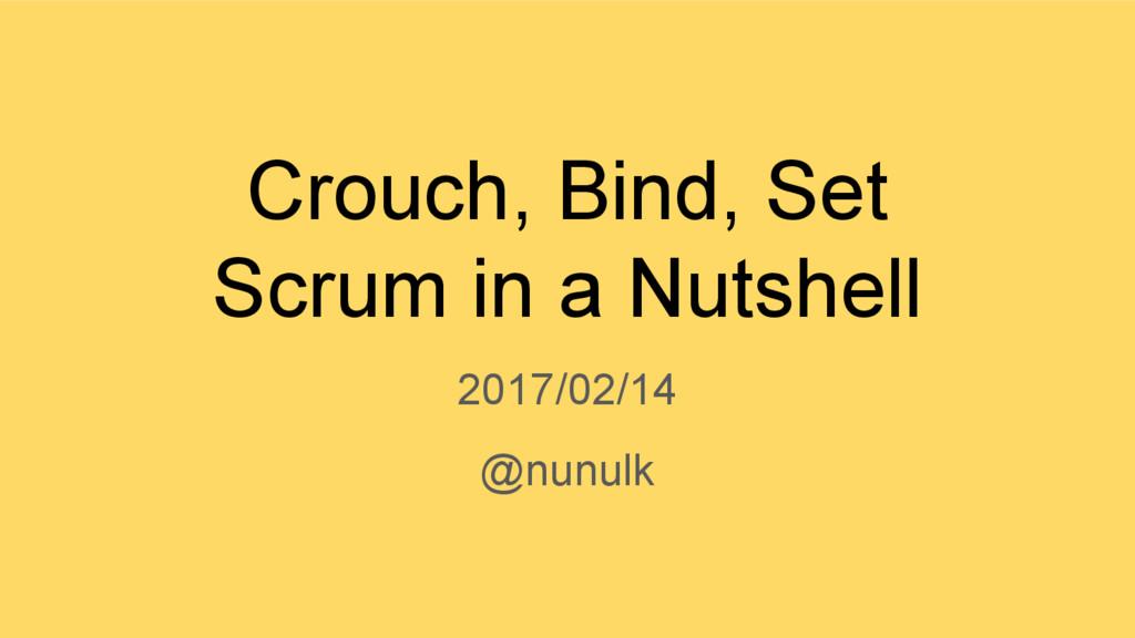 Crouch, Bind, Set Scrum in a Nutshell 2017/02/1...