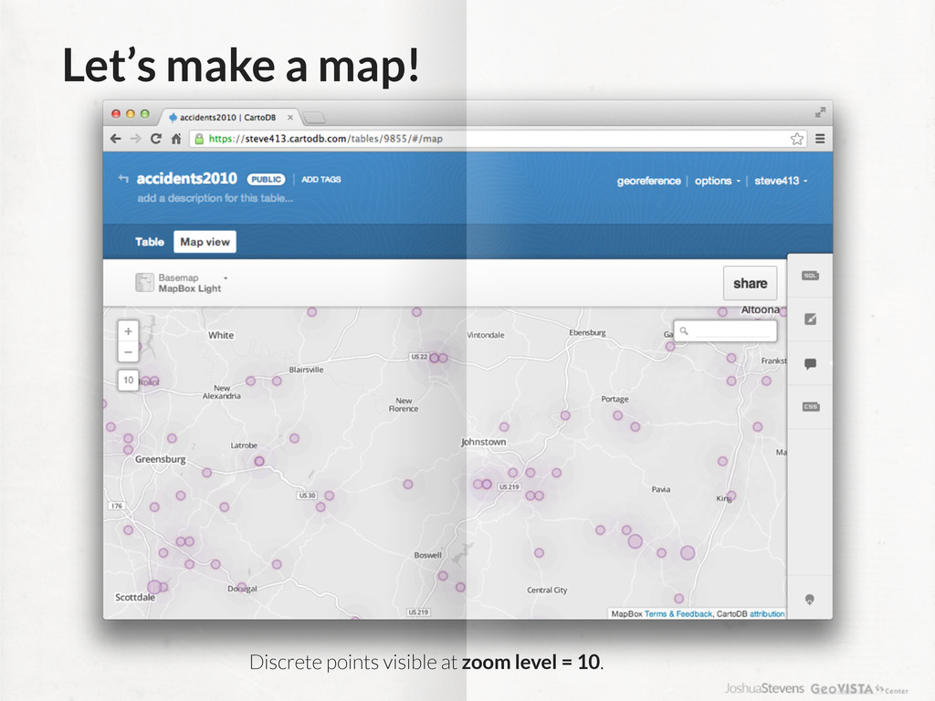 Let's make a map! Discrete points visible at zo...