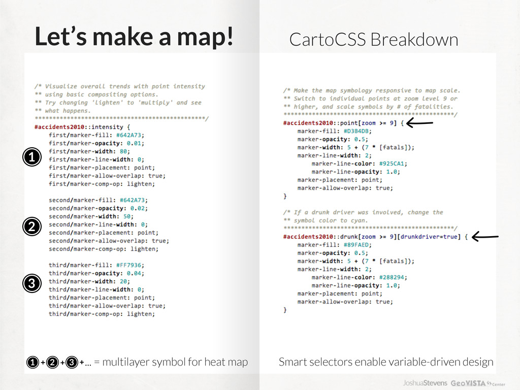 Let's make a map! 1 2 3 CartoCSS Breakdown 1 2 ...