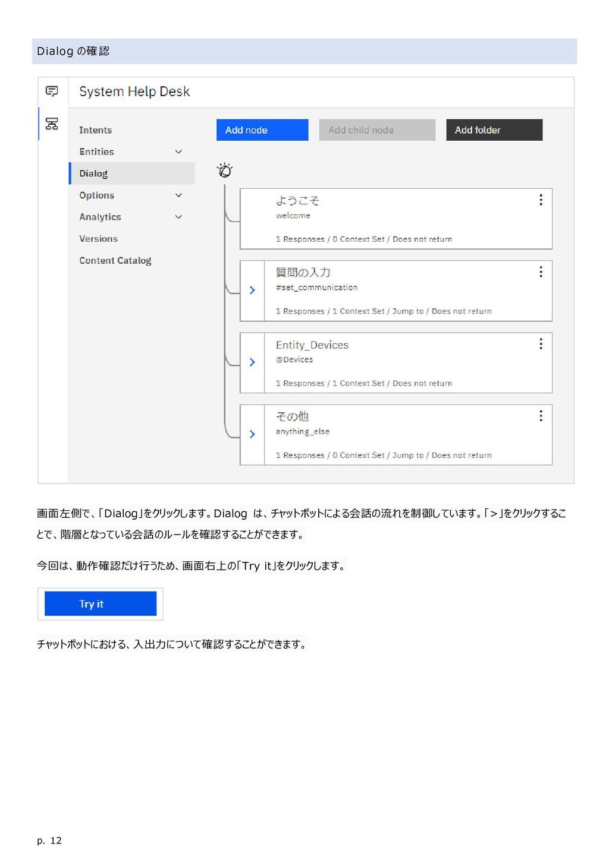 p. 12 Dialog の確認 画面左側で、「Dialog」をクリックします。Dialog ...
