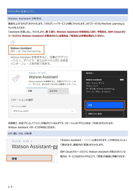 p. 8 チャットボット会話エンジン Watson Assistant の有効化 画面右上の「...