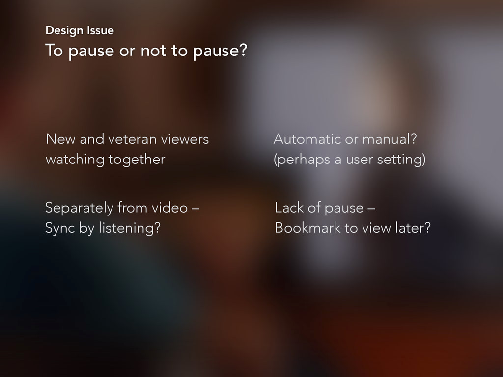 Design Issue To pause or not to pause? New and ...