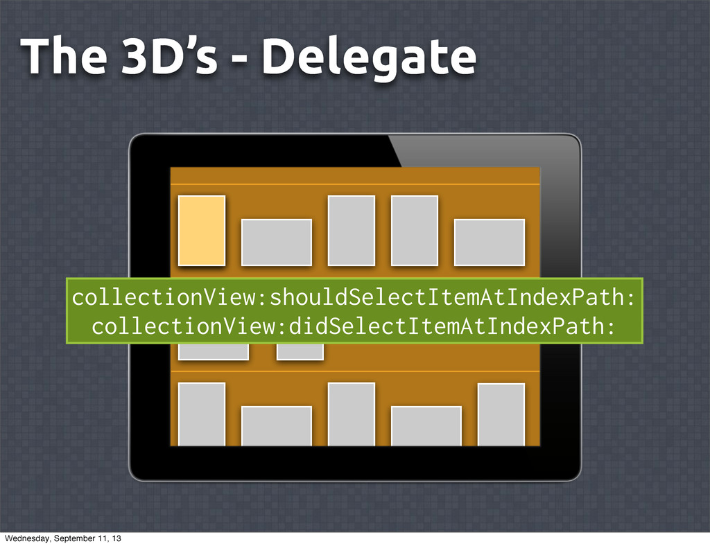The 3D's - Delegate collectionView:shouldSelect...