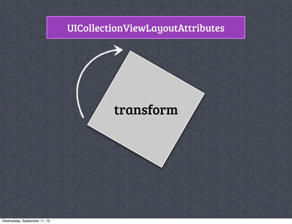 UICollectionViewLayoutAttributes transform Wedn...