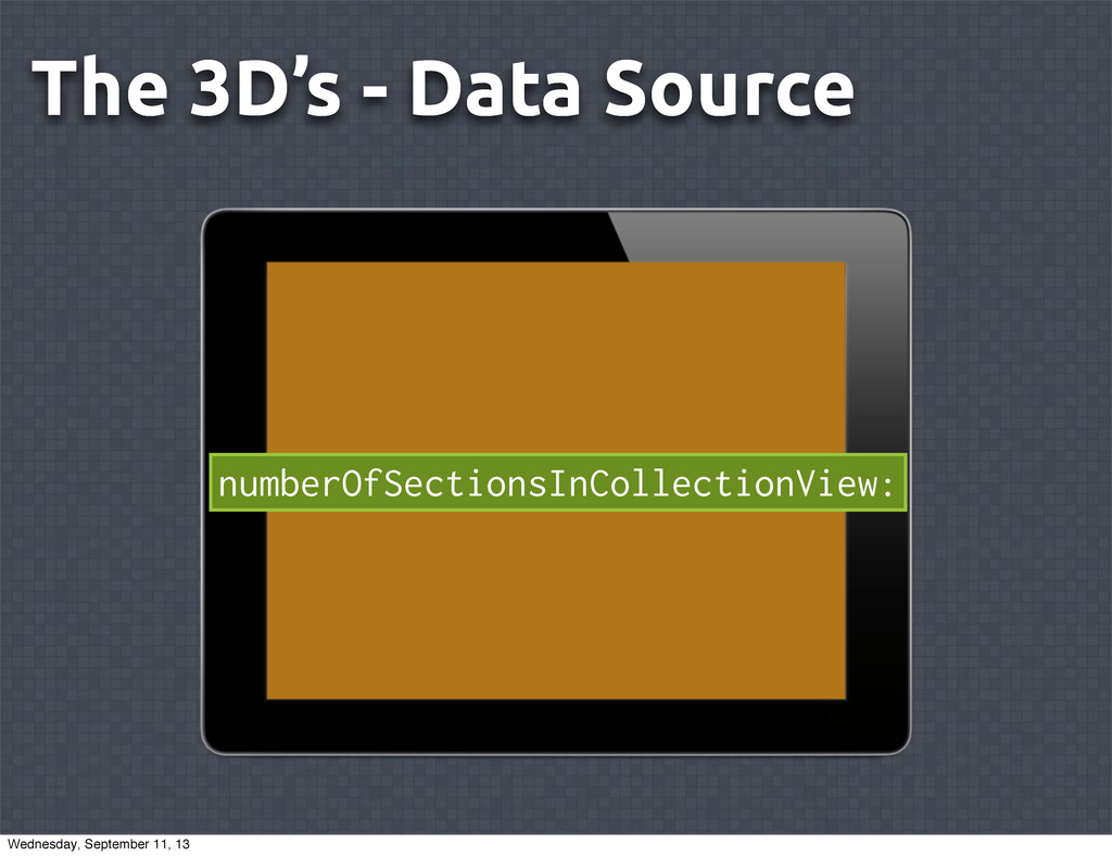 The 3D's - Data Source numberOfSectionsInCollec...