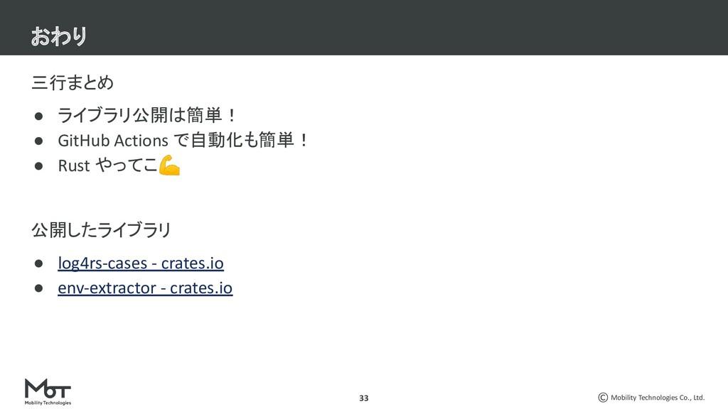 Mobility Technologies Co., Ltd. 33 三行まとめ ● ライブラ...