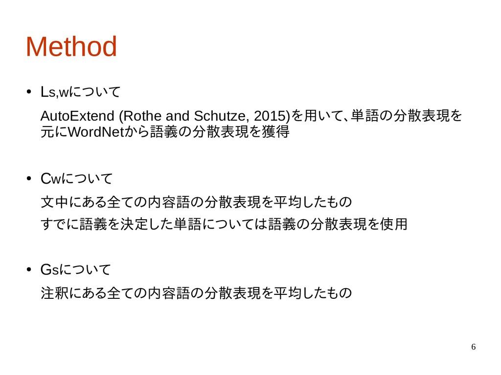 6 Method ● Ls,wについて AutoExtend (Rothe and Schut...