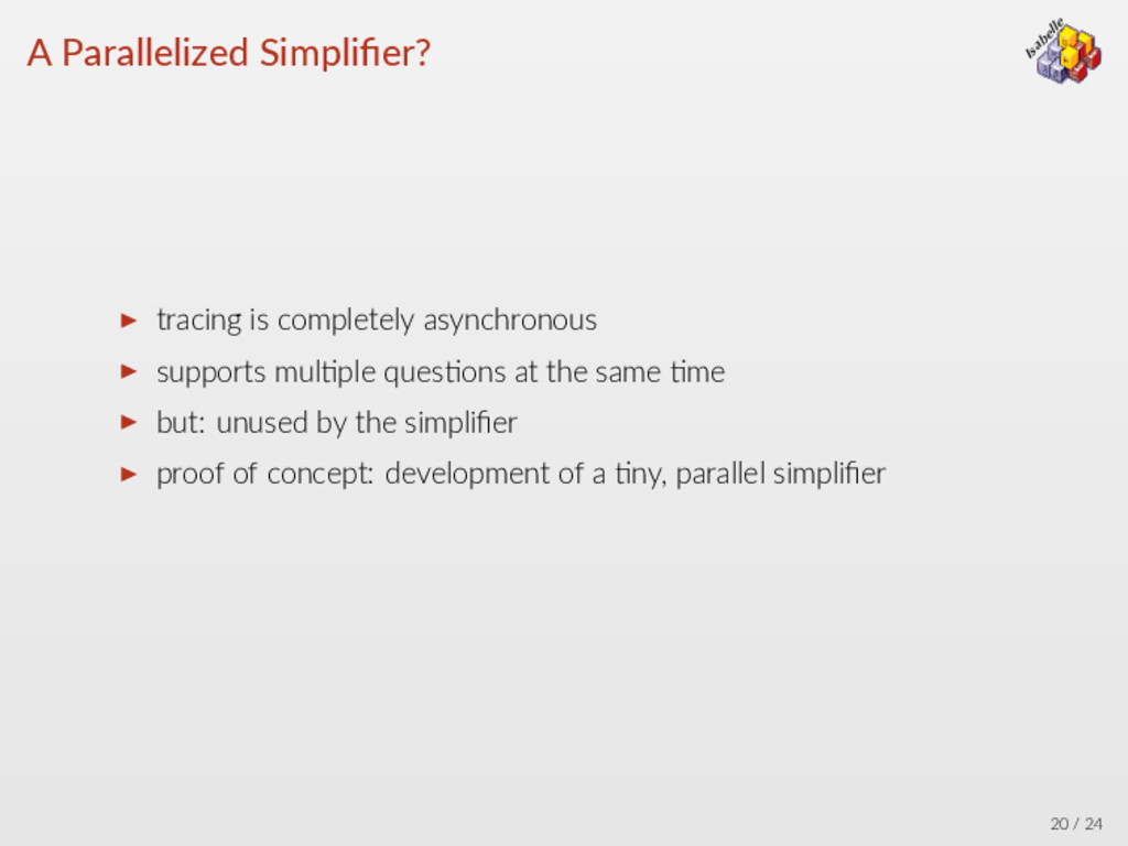 λ → ∀ = Isabelle β α A Parallelized Simplifier? ...