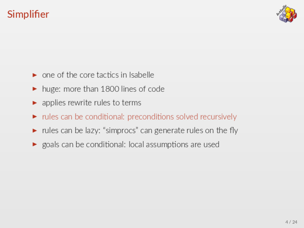 λ → ∀ = Isabelle β α Simplifier ▶ one of the cor...