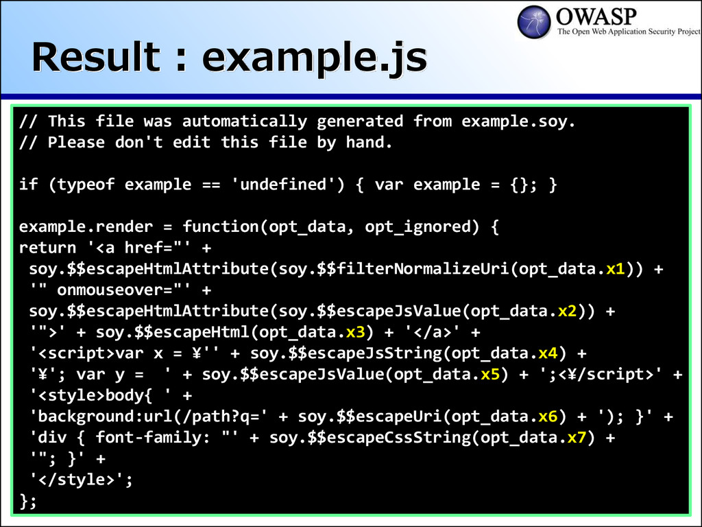 Result : example.js // This file was automatica...