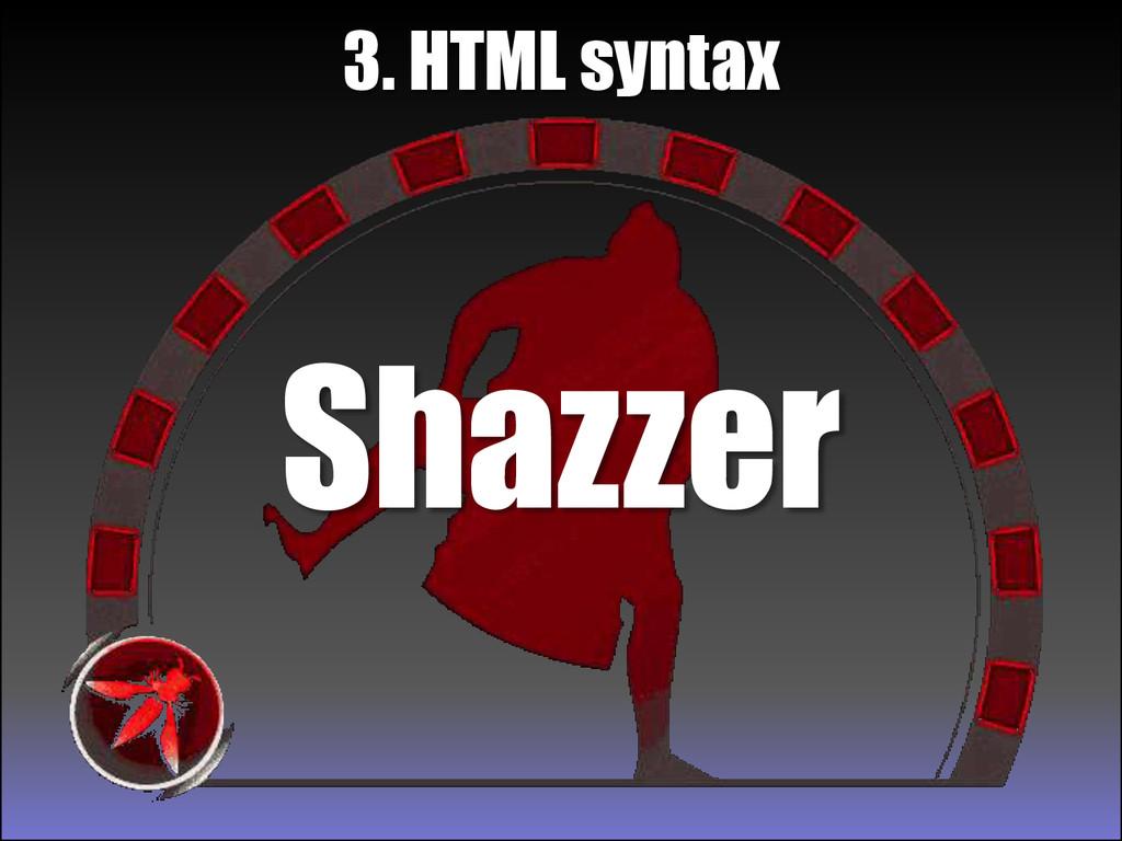 Shazzer 3. HTML syntax