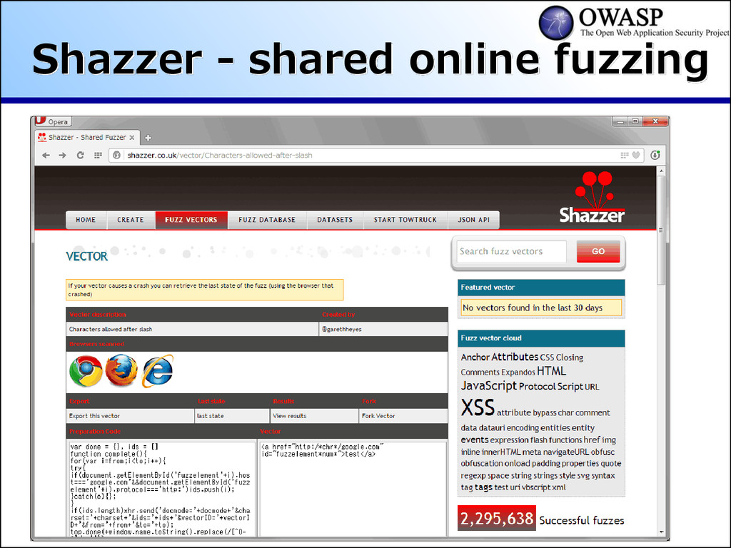 Shazzer - shared online fuzzing