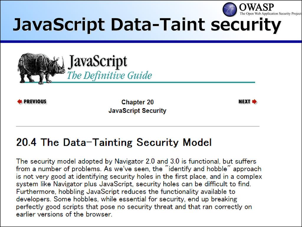 JavaScript Data-Taint security