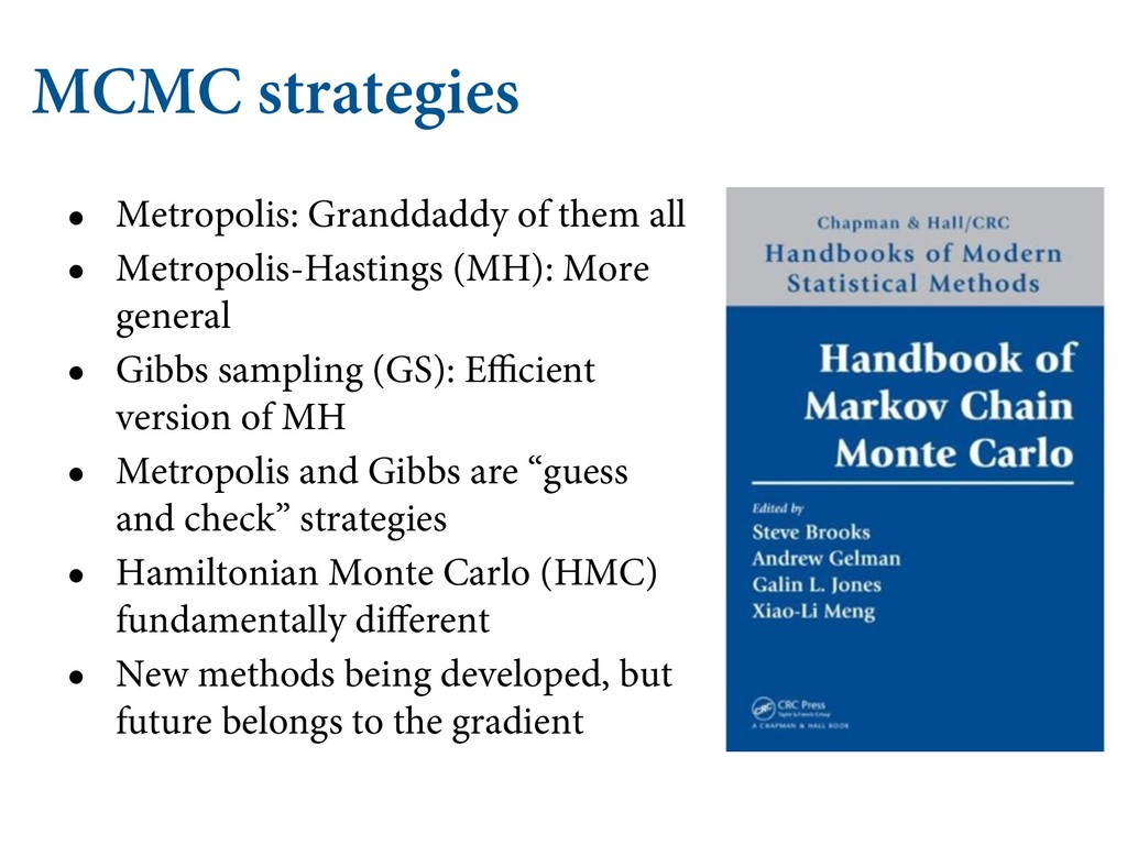 MCMC strategies • Metropolis: Granddaddy of the...