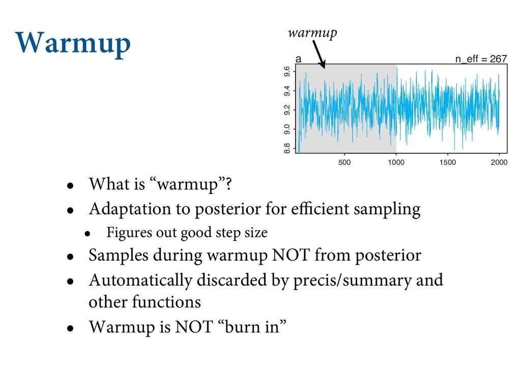 "Warmup • What is ""warmup""? • Adaptation to post..."