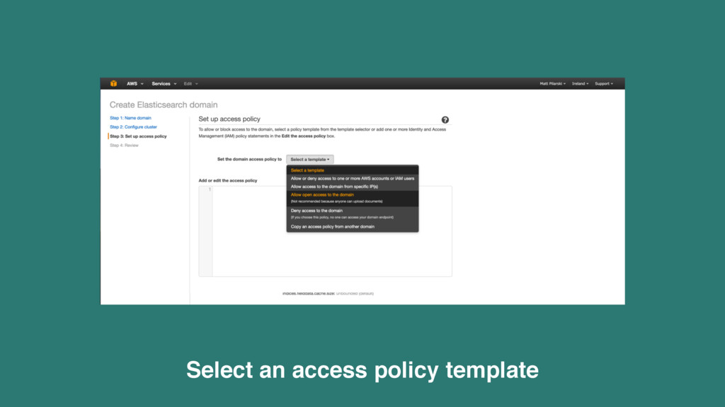 Select an access policy template