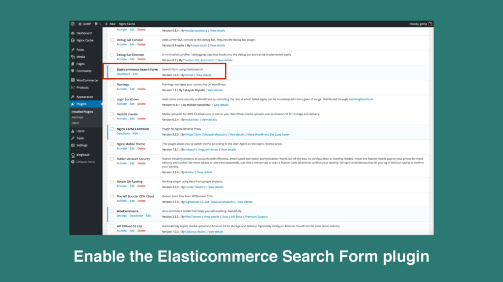 Enable the Elasticommerce Search Form plugin