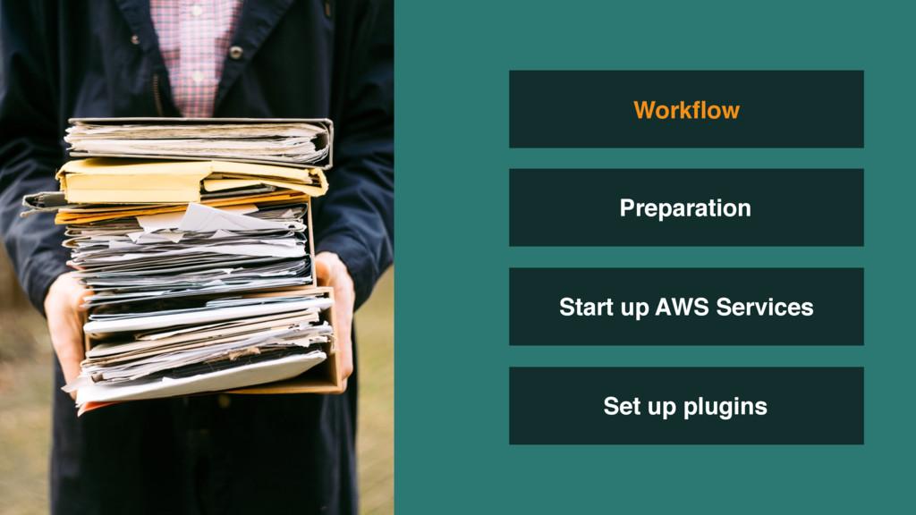 Start up AWS Services Set up plugins Workflow Pr...