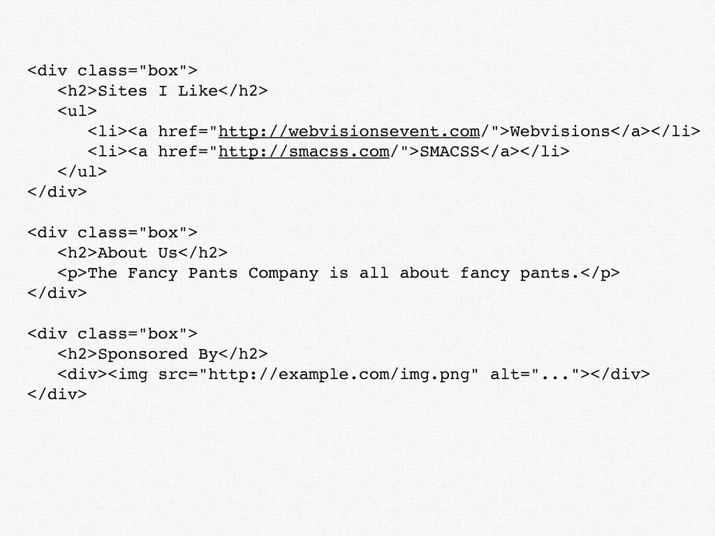 "<div class=""box""> <h2>Sites I Like</h2> <ul> <l..."