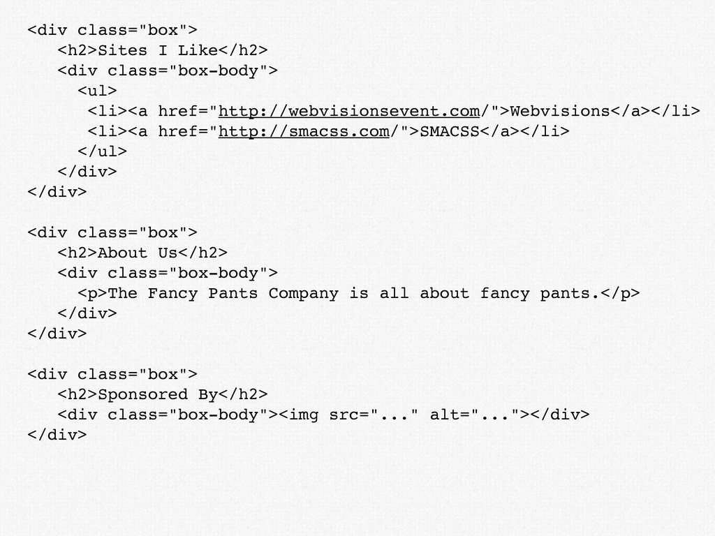 """<div class=""""box""""> <h2>Sites I Like</h2> <div cl..."""