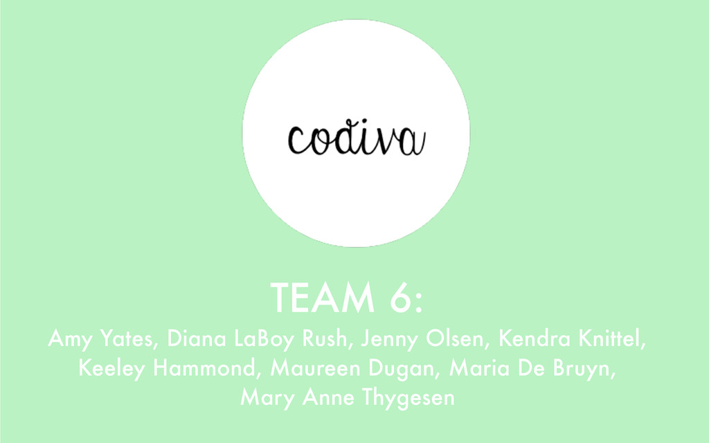 TEAM 6: Amy Yates, Diana LaBoy Rush, Jenny Olse...