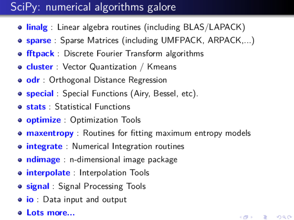 SciPy: numerical algorithms galore linalg : Lin...
