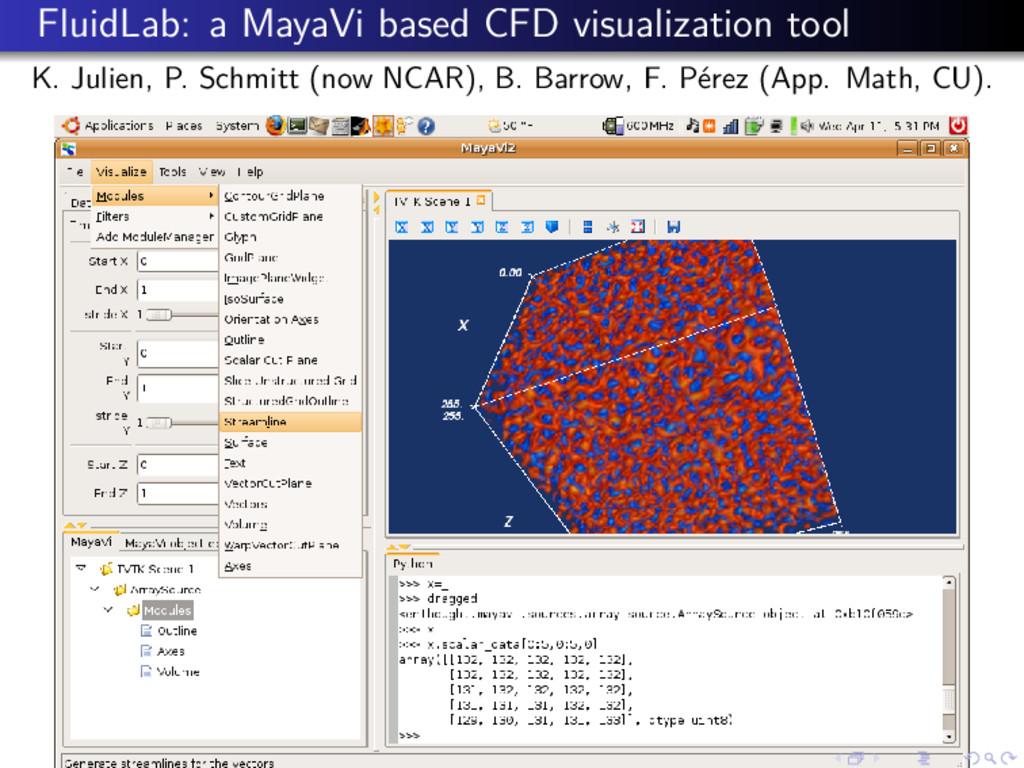 FluidLab: a MayaVi based CFD visualization tool...