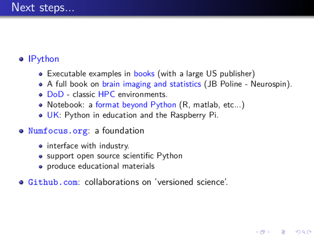 Next steps... IPython Executable examples in bo...