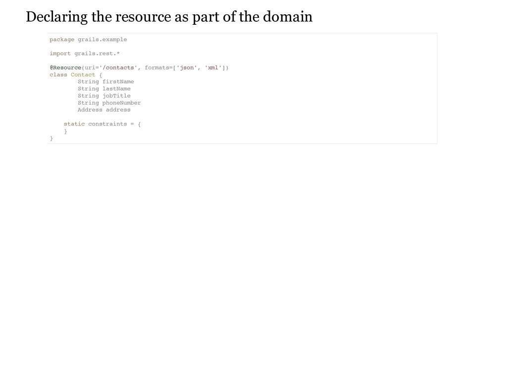 Declaring the resource as part of the domain p ...