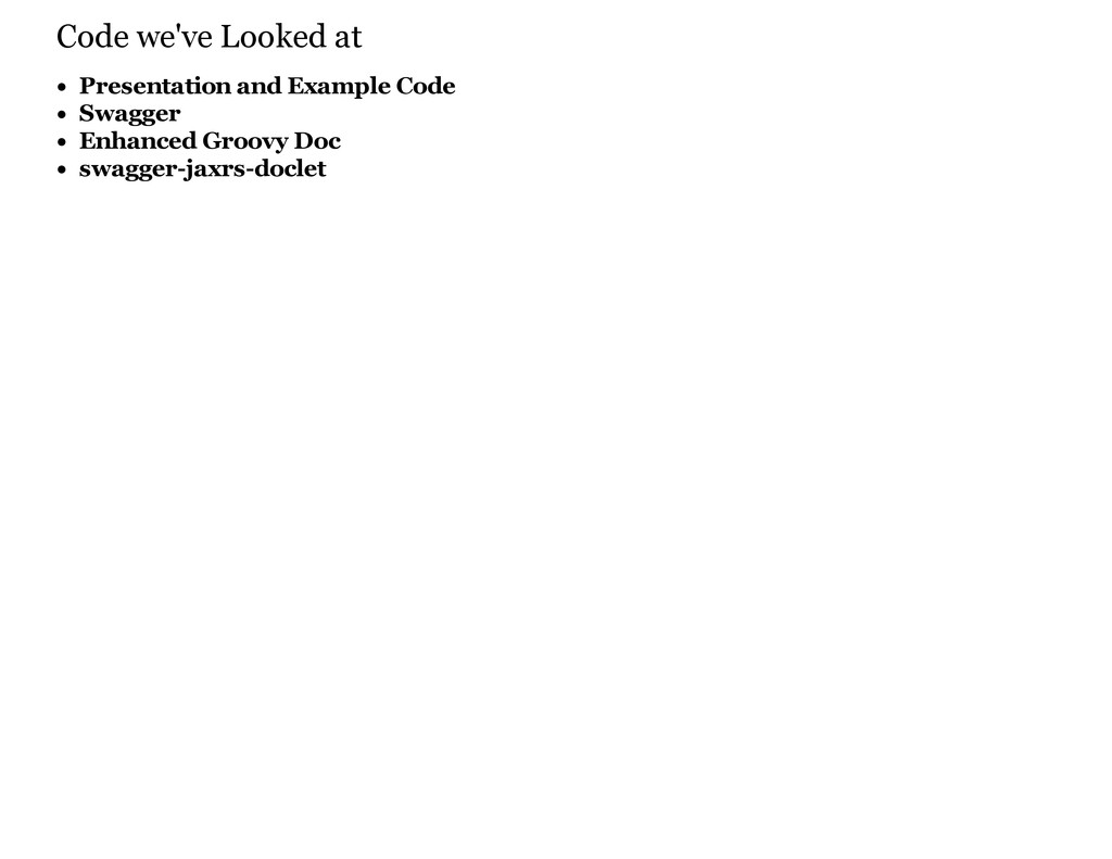 Code we've Looked at Presentation and Example C...