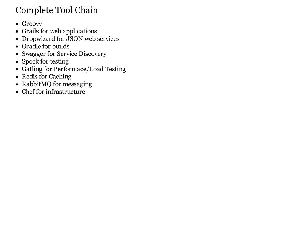 Complete Tool Chain Groovy Grails for web appli...