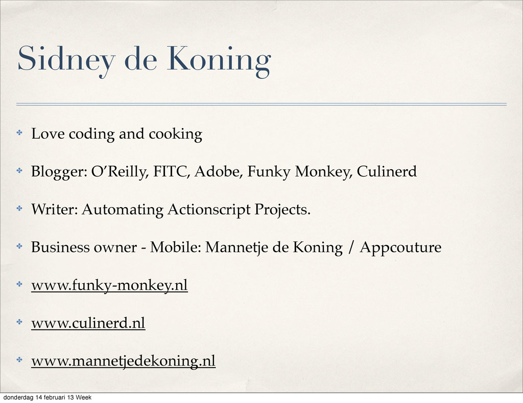 Sidney de Koning ✤ Love coding and cooking ✤ Bl...