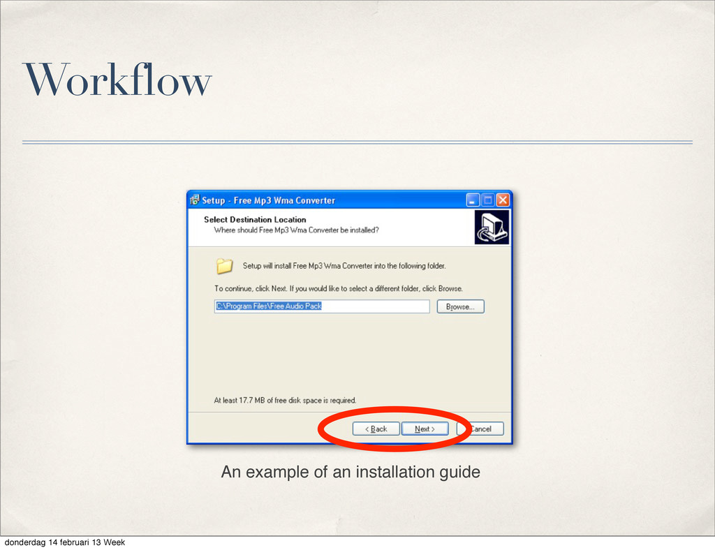 Workflow An example of an installation guide do...