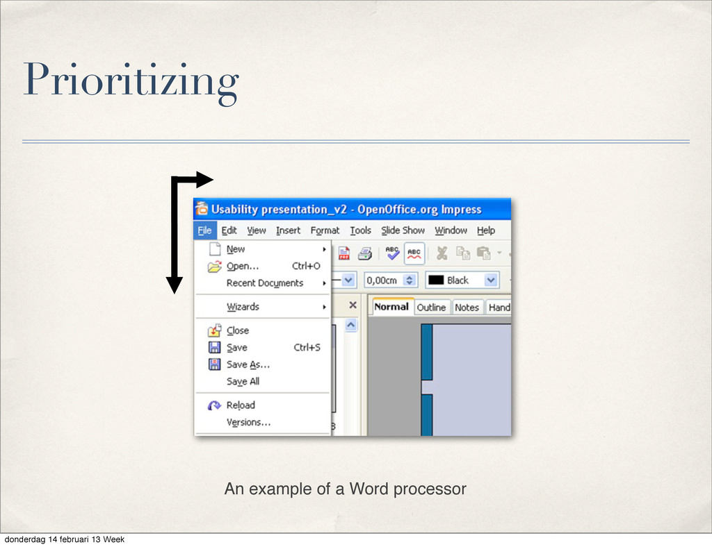 Prioritizing An example of a Word processor don...