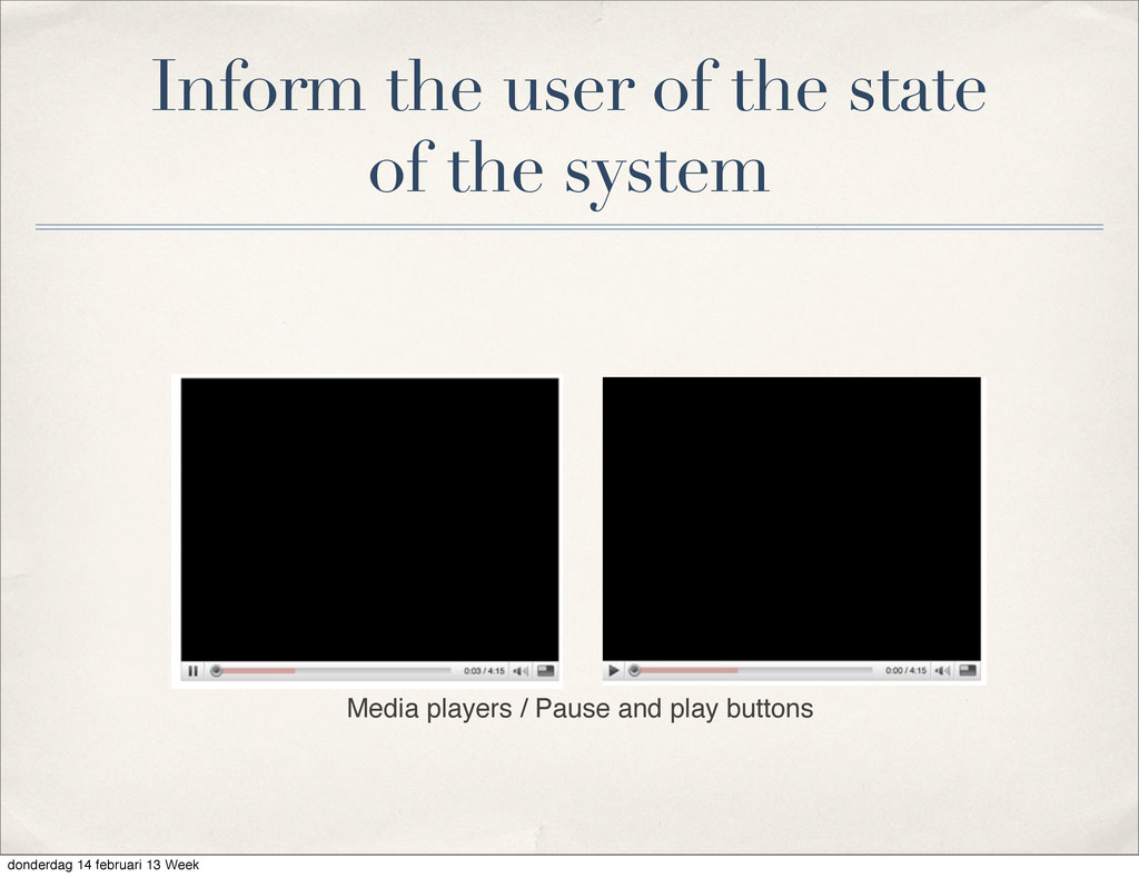 Inform the user of the state of the system Medi...