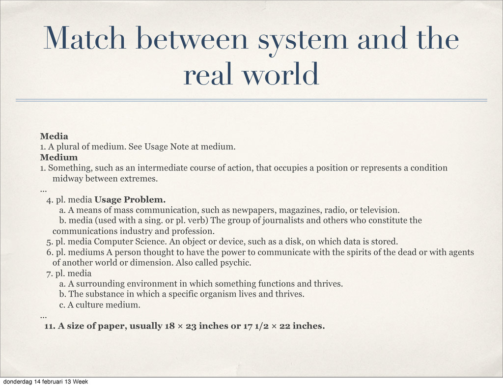 Match between system and the real world Media 1...