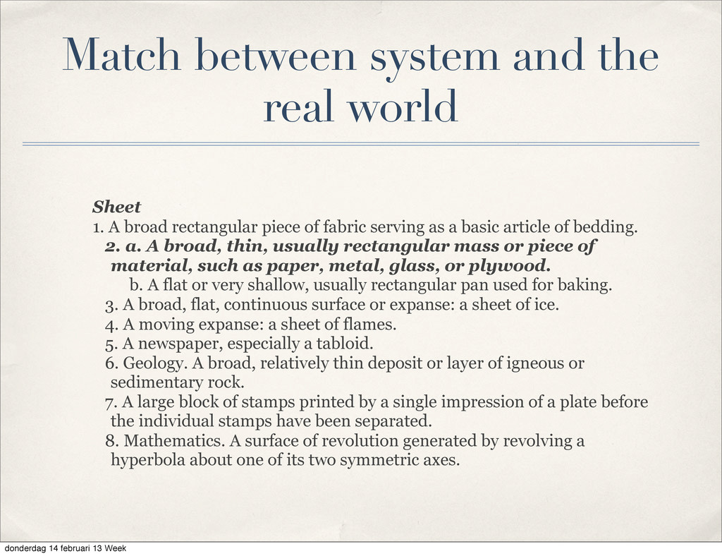 Match between system and the real world Sheet 1...