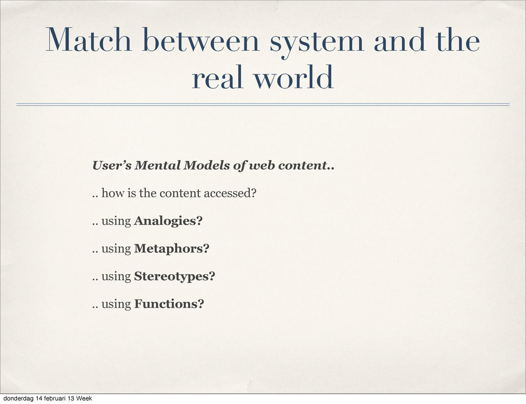 User's Mental Models of web content.. .. how is...