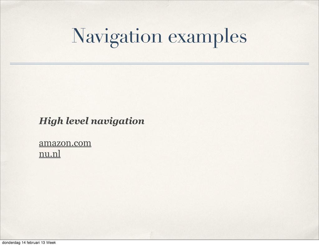 High level navigation amazon.com nu.nl Navigati...