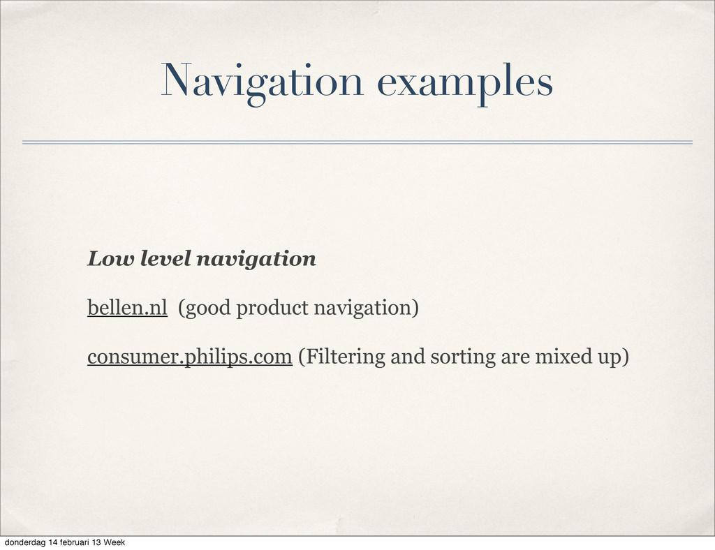 Low level navigation bellen.nl (good product na...