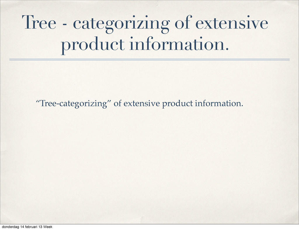 """""""Tree-categorizing"""" of extensive product inform..."""